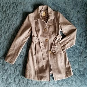 Gray Tulle Wool Trench Coat w/ Belt - M